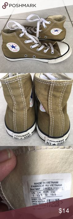 Converse size 1 high tops Converse muted green lace up high tops in good condition. Converse Shoes Sneakers