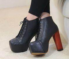 Classic Lace up Chunky Heels Platform Short Boots Lace Up Ankle Boots, Heeled Boots, Shoe Boots, Shoes Heels, Pumps, Chunky High Heels, Black High Heels, Black Shoes, Fancy Shoes