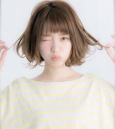 Beautiful Teen With Short Hairstyle That Can To Try, Hairstyles with bangs are excellent choices for ladies who wish to have hot, eye-catching looks. Fortunately, the range of hairstyles for African hair. Teen Hairstyles, Hairstyles With Bangs, Hairstyle Short, Japan Hairstyle, Medium Hair Styles, Short Hair Styles, Chin Length Hair, Traditional Hairstyle, Corte Y Color