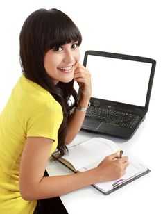 Female student with a laptop and notebook. Happy female student with a laptop an #Sponsored , #AFFILIATE, #Affiliate, #student, #female, #Happy, #Female Degree Holder, Online Degree Programs, Online College Degrees, Importance Of Time Management, Best Online Courses, Interview Preparation, Business School, Training Courses, Higher Education