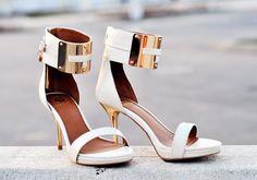 white cuff heels / river island