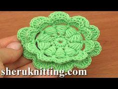 Сrochet Puff Stitch Double Layered Flower Tutorial 92 - YouTube