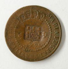 Numismática: Moeda brasileira de cobre de X Réis com carimbo de escudete, 1790, Coroa Alta. Moeda muito valorizada e em bom estado de conservação.