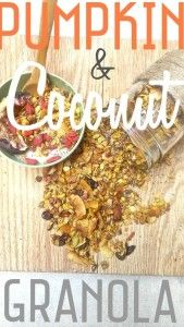 Healthy and Delicious Pumpkin Coconut Granola by runlikekale.com Perfect for fall!