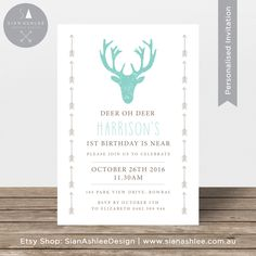 Birthday Invitation for any age | Deer Head + Arrows | Teal & Brown | Printable Invitation for Boy or Girl Party | By Sian Ashlee Design by SianAshleeDesign on Etsy https://www.etsy.com/listing/270292164/birthday-invitation-for-any-age-deer