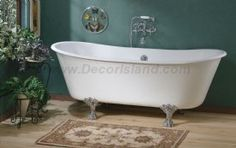 Cheviot Winchester Cast Iron Claw Foot Bathtub White / White With Brushed  Nickel