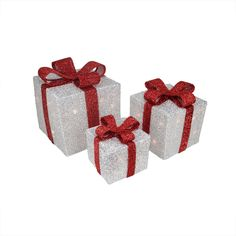 Set of 3 Silver Tinsel Gift Boxes with Red Bows Lighted Christmas Yard Art Decorations