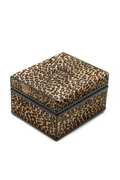 """Faux leopard printed horsehair hinged box, leather trimmed & lined, Measures: 7""""w x 6""""d x 4""""h.   Faux Leopard Box by Passports. Home & Gifts - Gifts & Things Connecticut"""
