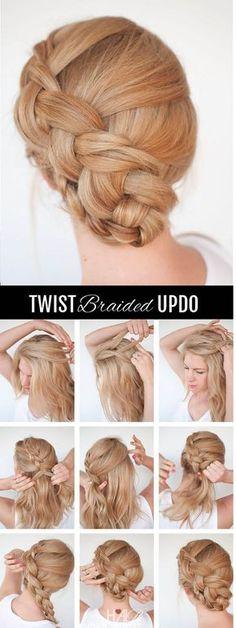 New braid hairstyle tutorial – the twist braid updo – Neu Mode Frisuren # two Braids peinados New Braided Hairstyles, Braided Hairstyles Tutorials, Braided Updo, Cool Hairstyles, Updo Hairstyle, Fashion Hairstyles, Wedding Hairstyles, Twisted Updo, Hairstyles 2018