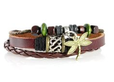 Dragonfly Leather Zen Bracelet, Fits 6 to 9 Inches in Gift Box | Your #1 Source for Jewelry and Accessories