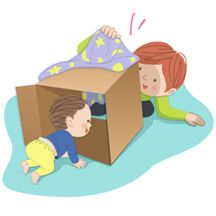 Tunnel trip  As your baby begins to move around the room, make movement more fun for him with a Tunnel Trip. He'll discover a new way to move himself, and a surprise at the end of the tunnel! All you need is a big box.  Materials        Cardboard box, a little larger than your baby's body      Small baby blanket