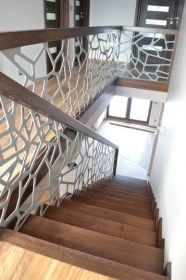 Modern carpet stairs with a balustrade 33 - manufacturer of wooden stairs . Modern carpet stairs with a balustrade 33 - manufacturer of wooden stairs Schodo-System The barn house a relic of U. Tiled Staircase, Staircase Railing Design, Outdoor Stair Railing, Modern Stair Railing, Balcony Railing Design, Home Stairs Design, Modern Stairs, Interior Stairs, Railing Ideas