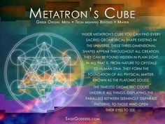 Inside Metatron's cube you can find every sacred geometrical shape existing in the universe, these three-dimensional shapes appear throughout all creation. They can be found hidden in plain sight, in all that is, from nature to crystals to human DNA.