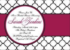 Bridal Shower Invitation by SilverOrchidGraphics on Etsy, $15.00