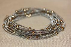Silver & Gold Stretch Wire Bangle Bracelets