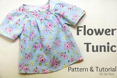 Süße Sommer Tunika / Oberteil nähen 3T I Flower Tunic Tutorial {Pattern included}... - The Sewing Rabbit