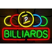 The 9 Ball Billiards Neon Sign by Neonetics features multi-colored, hand blown neon tubing. The glass neon tubes are supported by a black finished metal grid, which can be hung against a wall or windo
