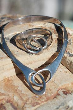 // Vintage Heavy Mexican Taxco Sterling Silver Modernist Collar Necklace Bracelet | eBay