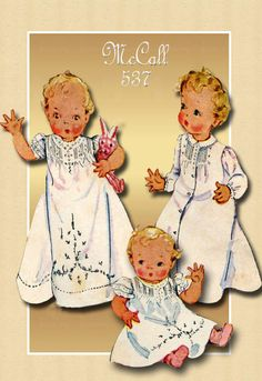 McCall 537-Adorable Infant Pattern from the 1930s--Perfect for Making a Baptismal Dress.