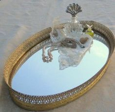 Photos of dressing tables - Vintage filigree mirrored vanity tray.jpg