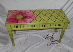 Hand Painted Furniture Desk Table by LeahJane Hand Painted Dressers, Funky Painted Furniture, Painted Chairs, Repurposed Furniture, Furniture Fix, Furniture Projects, Table Furniture, Furniture Makeover, Art Projects