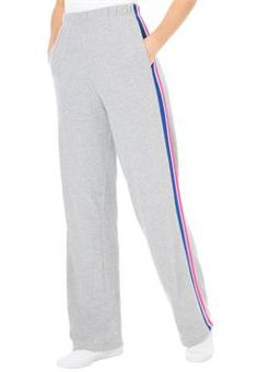 d1f28f066ac Plus Size Pants in soft knit with colorful side stripes elastic waist  womanwithin.com Plus