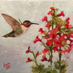 Krista Eaton Gallery of Original Fine Art Hummingbird Painting, Red Hummingbird, Origami Butterfly Easy, Bird Artwork, Watercolor Bird, Fine Art Gallery, Beautiful Paintings, Beautiful Birds, Flower Art