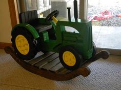 This fantastic John Deere Rocking Tractor is a great DIY project that will put a big smile on any little one& dial! Baby Fever, Baby Boys, Wooden Toys, Wooden Figurines, Cute Kids, Little Ones, Kids Toys, Diy Projects, Grandkids