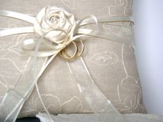 Linen Ring Bearer Pillow Ring Bearer Wedding Ring by TwiningVines
