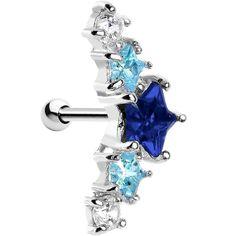 Silver 925 Sapphire and Aqua Gem Stars Left Cartilage Earring