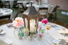 Simple centerpiece | A Pink Vintage Chic North Carolina Wedding via TheELD.com