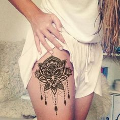 Lotus Thigh Tattoo Ideas - Owl Chandelier Leg Women Tat - MyBodiArt.com #RoseTattooIdeas
