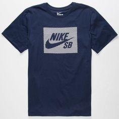 Nike Sb Herringbone Block Mens T-Shirt Navy  In Sizes