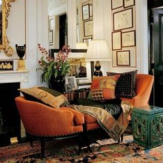 Burnt orange velvet love seat - Ralph Lauren Home Design Style At Home, Design Lounge, Design Salon, Beautiful Interiors, Home Collections, Home Fashion, Interior Inspiration, Living Spaces, Family Room