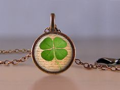 Jewelry  Lucky Penny Necklace  Four Leaf by MaDGreenCreations