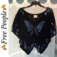 Free People Butterfly Top Pretty top by Free People in black features a beautiful sequined butterfly on front, lots of details throughout, easy slip on style Free People Tops