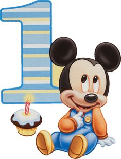 Mickey mouse first birthday Mickey Birthday Cakes, Mickey 1st Birthdays, Mickey Mouse First Birthday, Mickey Mouse Clubhouse, Micky Mouse Bebe, Mickey Minnie Mouse, Birthday Clips, Art Birthday, Festa Mickey Baby