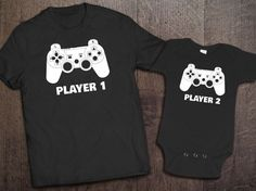 This set includes 1 black adult unisex shirt and 1 black baby onesie. If you prefer a womens fitted shirt instead of a unisex fit, please leave a note at checkout. This design is available in various colors. Please see the following listing for other color options: https://www.etsy.com/listing/249260157/father-son-matching-shirt-onesie-player?ref=shop_home_active_3 IF YOU WANT A 3 PLAYER SHIRT SET (Player 1, Player 2, and Player 3), check out this listing…