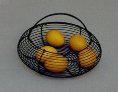 košík drôtený počiernený - Slovak folk art - wire basket