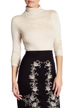 Long Sleeve Turtleneck Ruched Tee
