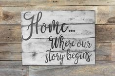 Home where our story begins - Sign for the home, custom wood signs, hand painted signs, pallet signs. by Signdsigns on Etsy https://www.etsy.com/ca/listing/505623992/home-where-our-story-begins-sign-for-the