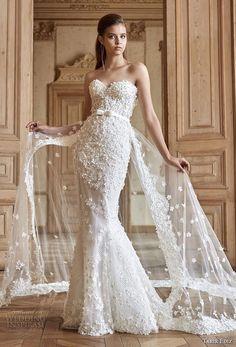 tarik ediz 2017 bridal strapless sweetheart neckline full embellishment romantic elegant fit and flare mermaid wedding dress chapel train (15) mv -- Tarik Ediz White 2017 Wedding Dresses