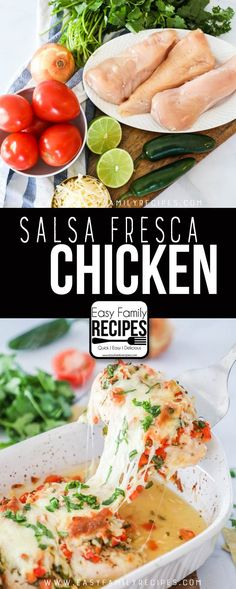 Salsa Fresca Chicken - Healthy Delicious Dinner Recipe Easy Dinner Recipes, Healthy Delicious Dinner Recipes, Easy Family Recipes, Easy Family Meals, Healthy Chicken Dinner, Vegetarian Recipes Dinner, Mexican Food Recipes, Simple Recipes, Healthy Recipes