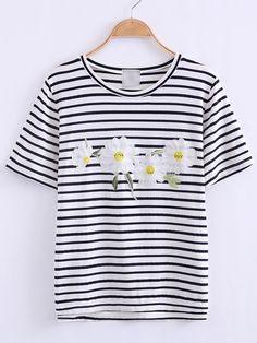 Black And White Flower Applique Stripe T-shirt
