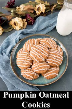 These pumpkin oatmeal cookies are full of pumpkin flavor and hearty oats. They bake up soft with crispy edges and are topped with a touch of sweet glaze. #pumpkinoatmealcookies #pumpkincookies #glazedcookie Holiday Cookie Recipes, Best Cookie Recipes, Healthy Dessert Recipes, Pumpkin Recipes, Thanksgiving Recipes, Fall Recipes, Delicious Desserts, Best Homemade Cookie Recipe, Homemade Muffins