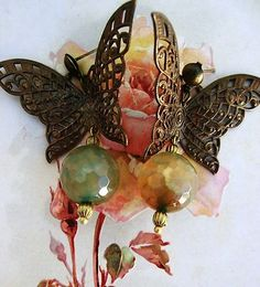 Victorian Cameo butterfly earrings....antiqued brass filigree and agate