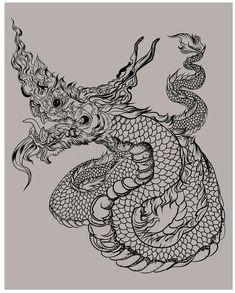 Thai Tattoo Meaning, Tiger Tattoo Meaning, Cambodian Tattoo, Khmer Tattoo, Dragon Tattoo For Women, Dragon Tattoo Designs, Dragon Tattoo Drawing, Snake Dragon, Tiger Illustration