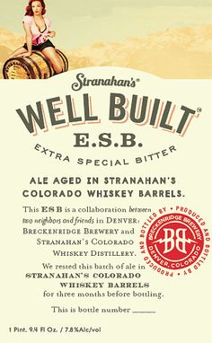 Stranahan's Well Built ESB Aged for 6 months in Stranahan's Whiskey Barrels (Denver, CO.)