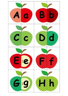 Alphabet matching game | Free printables | Apple theme. Download @malaysianmom.com |4b