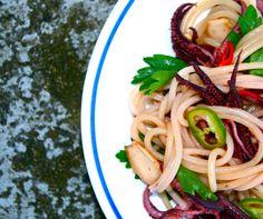 louilicious.com // pasta, squid, chili + marcona almonds